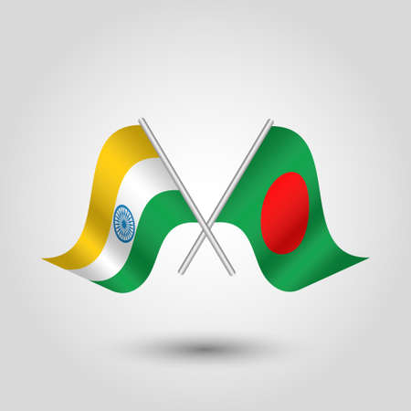 vector two crossed indian and bangladeshi flags on silver sticks - symbol of india and people's republic of bangladesh