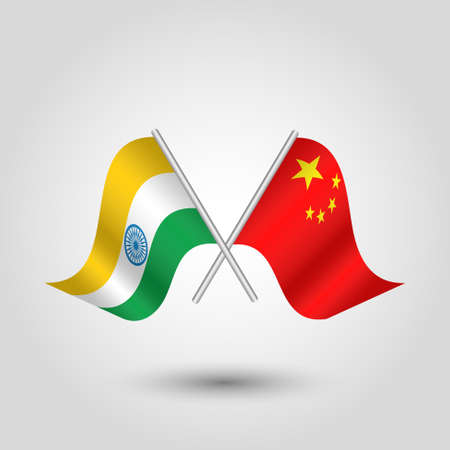 vector two crossed indian and chinese flags on silver sticks - symbol of india and peoples republic of china