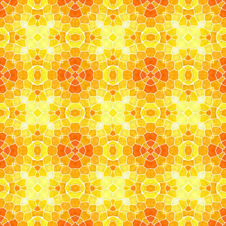 mosaic kaleidoscope seamless pattern texture background - sunny yellow and orange colored with white grout