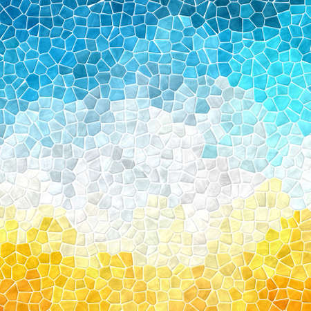 abstract nature marble plastic stony mosaic tiles texture background with white grout - sunny yellow, sky blue and cloud gray colors