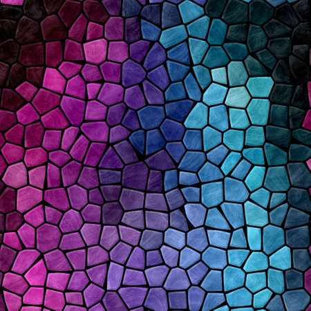 abstract nature marble plastic stony mosaic tiles texture background with black grout - purple, violet, hot pink, magenta, cyan, blue colors
