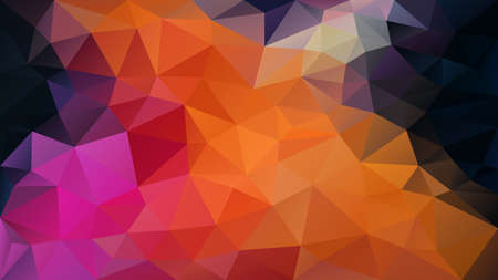 vector abstract irregular polygon background - triangle low poly pattern - vibrant neon orange pink puprle black color