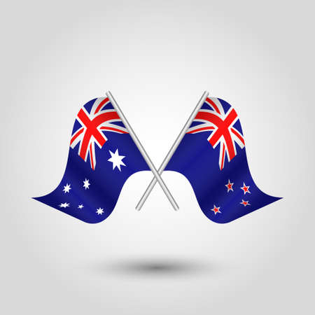 vector two crossed australian and zealander flags on silver sticks - symbol of australia and new zealand Çizim