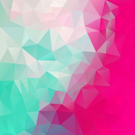 vector abstract irregular polygon square background - triangle low poly pattern - mint green and hot pink magenta color 스톡 콘텐츠 - 119894074