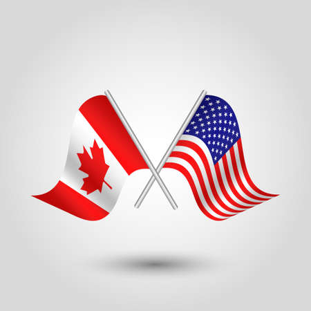 vector two crossed canadian and american flags on silver sticks - symbol of canada and usa united state of america Illustration