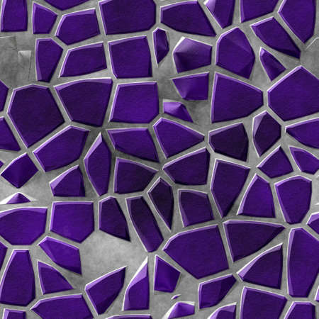 surface floor marble mosaic pattern seamless background with gray concrete grout - purple violet color