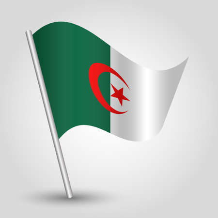 vector waving simple triangle algerian flag on slanted silver pole - symbol of algeria with metal stick