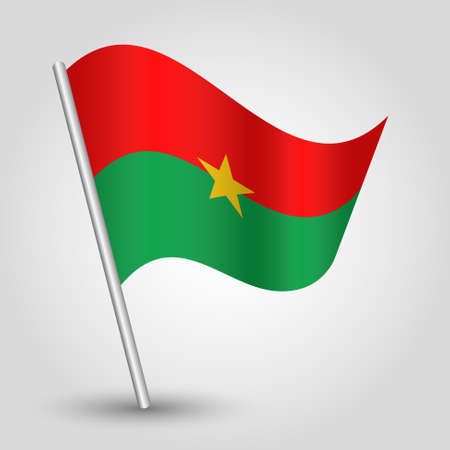 vector waving simple triangle burkinabe flag on slanted silver pole - symbol of burkina faso with metal stick Illustration