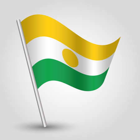 vector waving simple triangle nigerien flag on slanted silver pole - symbol of niger with metal stick Illustration