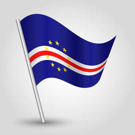 vector waving simple triangle verdean flag on slanted silver pole - symbol of cape verde with metal stick