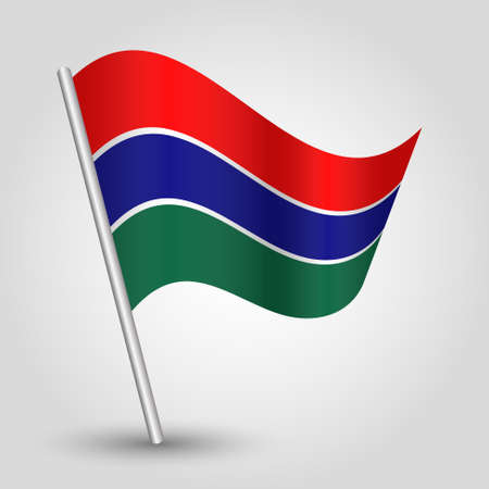 vector waving simple triangle gambian flag on slanted silver pole - symbol of Gambia with metal stick Illustration