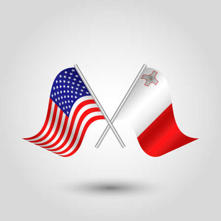 vector two crossed american and maltese flags on silver sticks - symbol of united states of america and malta