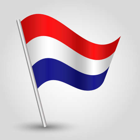 vector waving simple triangle dutch flag on slanted silver pole - symbol of netherlands with metal stick