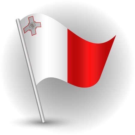 vector waving simple triangle maltese island flag on slanted silver pole - symbol of malta with metal stick
