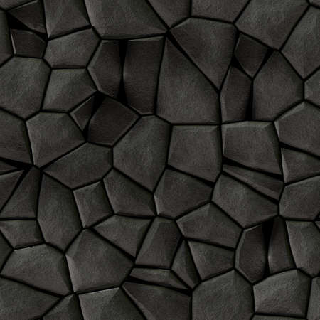 cobble stones irregular mosaic pattern texture seamless background - pavement dark gray black natural colored pieces