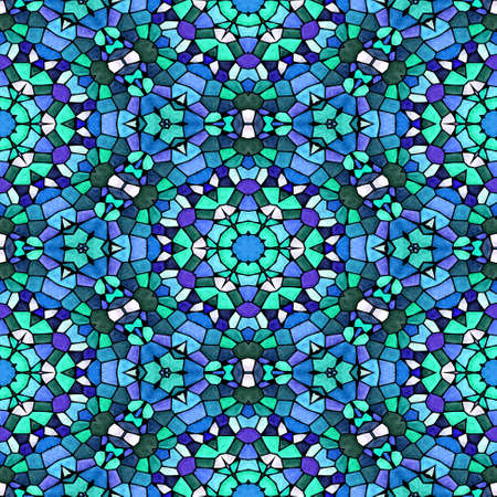 mosaic kaleidoscope seamless pattern texture background - blue green turquoise purple colored with black grout
