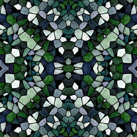 mosaic kaleidoscope seamless pattern texture background - dark emerald green blue gray colored with black grout