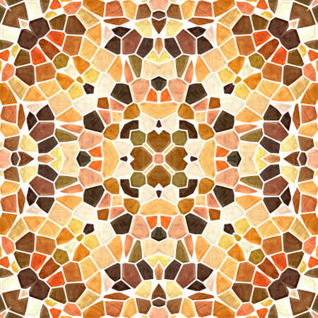 mosaic kaleidoscope seamless pattern texture background - orange vrown yellow colored with white grout Reklamní fotografie