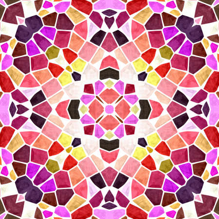 mosaic kaleidoscope seamless pattern texture background - pink violet purple maroon orange red colored with white grout