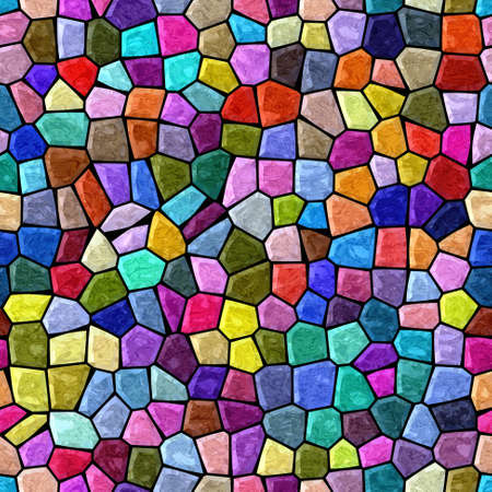 surface floor marble mosaic pattern seamless background with black grout - rainbow full color spectrum - hot pink, magenta, purple, violet, red, green, blue, yellow, orange
