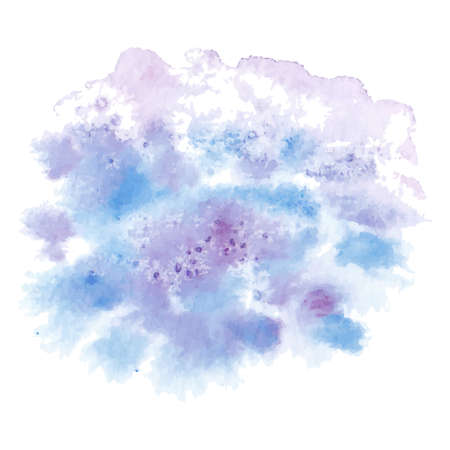 vector hand painted abstract watercolor painting - sky blue purple violet colored stain isolated on white background Ilustração