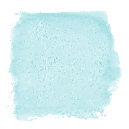 vector hand painted abstract watercolor painting - cute tuquoise blue green colored stain isolated on white background