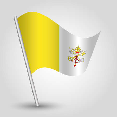 vector waving simple triangle vatican flag on slanted silver pole - symbol of city state with metal stick 일러스트