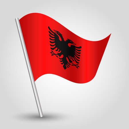 vector waving simple triangle albanian flag on slanted silver pole - symbol of albania with metal stick