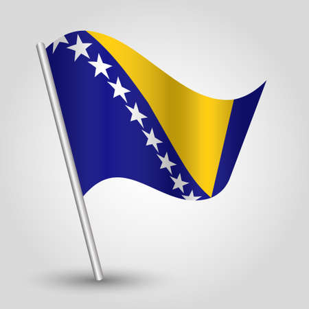 vector waving simple triangle bosnian flag on slanted silver pole - symbol of bosna and herzegovina with metal stick
