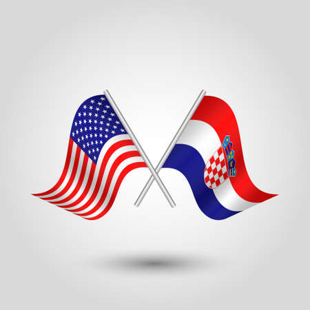 vector two crossed american and croatian flags on silver sticks - symbol of united states of america and croatia Ilustração