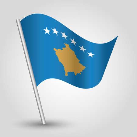 vector waving simple triangle kosovan flag on slanted silver pole - symbol of kosovo with metal stick