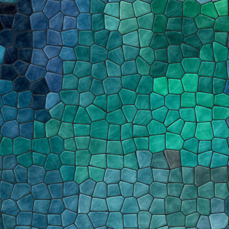abstract nature marble plastic stony mosaic tiles texture background with black grout - dark indigo, teal, pine, mint, turquoise, blue, green colors 版權商用圖片