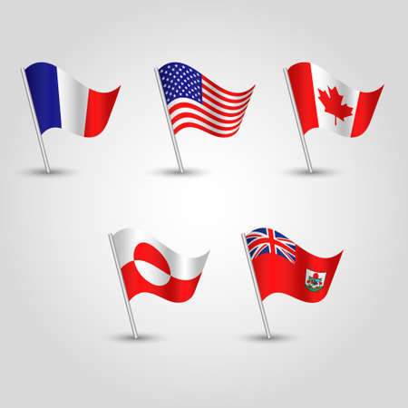 vector set of waving flags northern america on silver pole - icon of american states - bermuda, canada, greenland, saint pierre and miquelon and usa