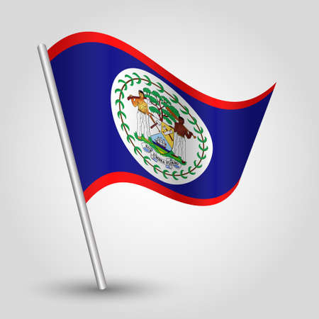 vector waving simple triangle belizean flag on slanted silver pole - symbol of belize with metal stick