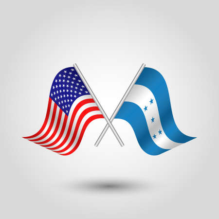vector two crossed american and honduran flags on silver sticks - symbol of united states of america and honduras