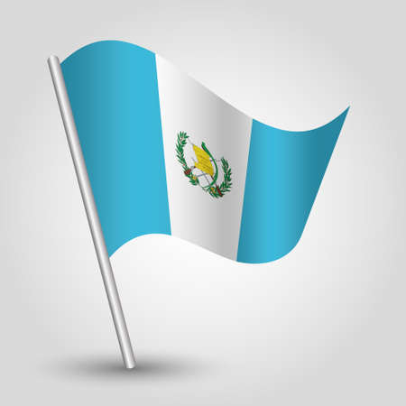 vector waving simple triangle guatemalan flag on slanted silver pole - symbol of guatemala with metal stick Ilustrace