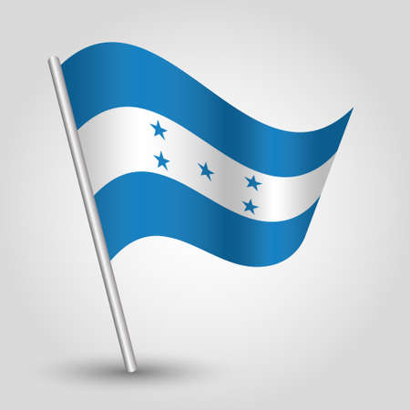 vector waving simple triangle honduran flag on slanted silver pole - symbol of honduras with metal stick Ilustrace