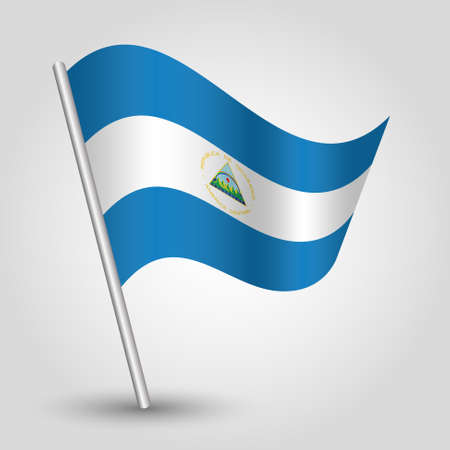 vector waving simple triangle nicaraguan flag on slanted silver pole - symbol of nicaragua with metal stick