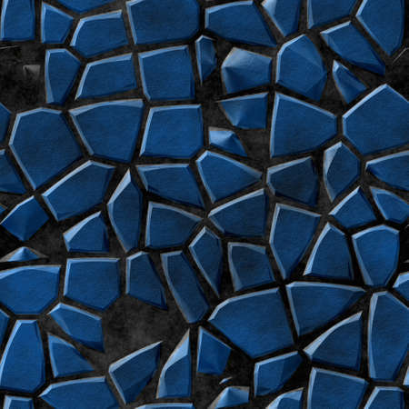 cobble stones irregular mosaic pattern texture seamless background - pavement blue natural colored pieces on black concrete ground
