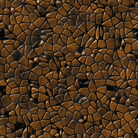 cobble stones irregular mosaic pattern texture seamless background - pavement brown copper natural colored pieces on black concrete ground