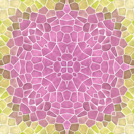 mosaic kaleidoscope jewel seamless pattern texture background - old pink and lime green yellow colored with white grout