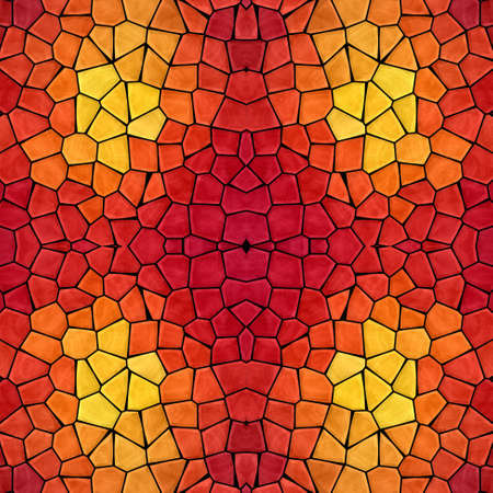 mosaic kaleidoscope jewel seamless pattern texture background - fiery red orange yellow colored with black grout Stockfoto - 128376005