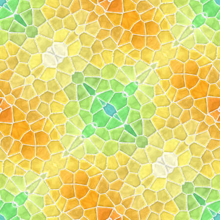 mosaic kaleidoscope jewel seamless pattern texture background - fresh spring yellow orange green colored with white grout Stockfoto - 128375988