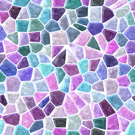 surface floor marble mosaic pattern seamless background with white grout - cold blue purple violet green pink mauve color