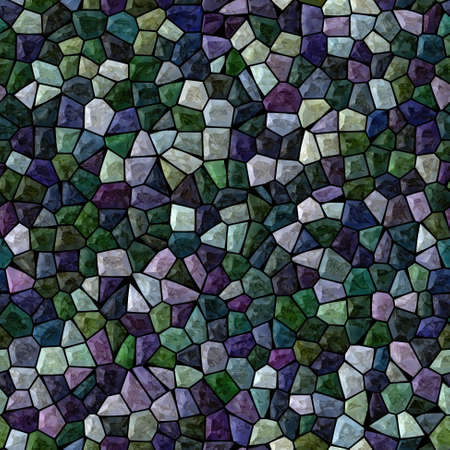 surface floor marble mosaic pattern seamless background with black grout - dark purple violet emerald green color