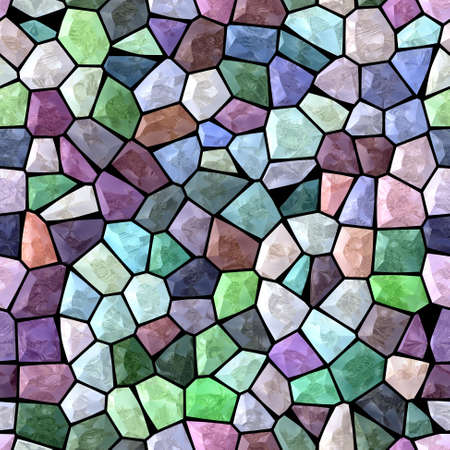 surface floor marble mosaic pattern seamless background with black grout - light pastel color - blue, purple, orange, green, beige, pink