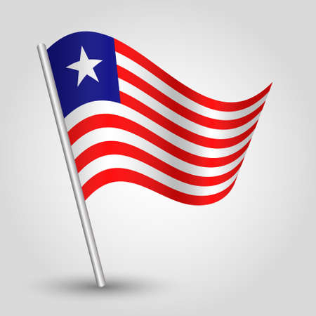 vector waving simple triangle liberian flag on slanted silver pole - symbol of liberia with metal stick