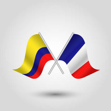 vector two crossed colombian and french flags on silver sticks - symbol of colombia and france