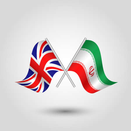 vector two crossed british and iranian flags on silver sticks - symbol of united kingdom and iran
