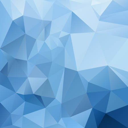 vector abstract irregular polygon square background - triangle low poly pattern - cold icy arctic cobalt azure sky blue color